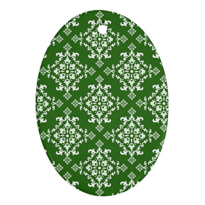 St Patrick S Day Damask Vintage Oval Ornament (Two Sides)