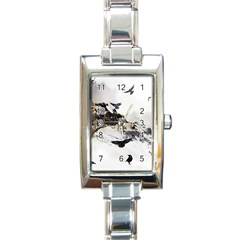 Birds Crows Black Ravens Wing Rectangle Italian Charm Watch by BangZart