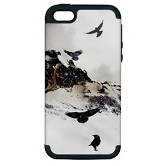 Birds Crows Black Ravens Wing Apple Iphone 5 Hardshell Case (pc+silicone)