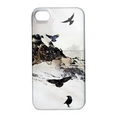 Birds Crows Black Ravens Wing Apple Iphone 4/4s Hardshell Case With Stand