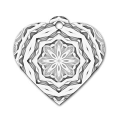 Mandala Pattern Floral Dog Tag Heart (two Sides)