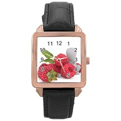Fruit Healthy Vitamin Vegan Rose Gold Leather Watch