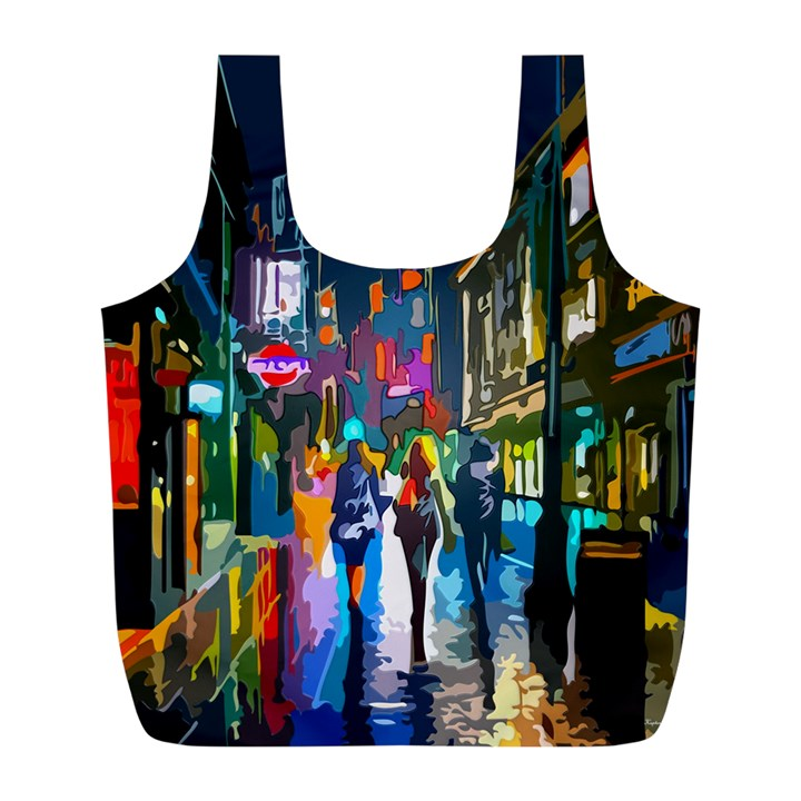 Abstract Vibrant Colour Cityscape Full Print Recycle Bags (L)