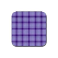 Purple Plaid Original Traditional Rubber Square Coaster (4 Pack)