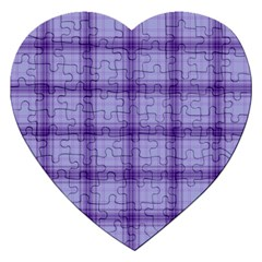 Purple Plaid Original Traditional Jigsaw Puzzle (heart)