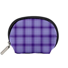 Purple Plaid Original Traditional Accessory Pouches (small)  by BangZart