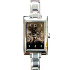 Tree Bushes Black Nature Landscape Rectangle Italian Charm Watch by BangZart