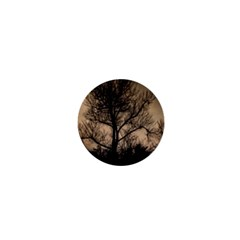 Tree Bushes Black Nature Landscape 1  Mini Magnets by BangZart