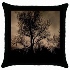 Tree Bushes Black Nature Landscape Throw Pillow Case (black) by BangZart