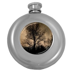 Tree Bushes Black Nature Landscape Round Hip Flask (5 Oz) by BangZart