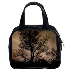 Tree Bushes Black Nature Landscape Classic Handbags (2 Sides) by BangZart