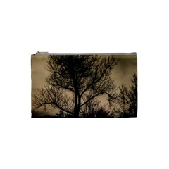 Tree Bushes Black Nature Landscape Cosmetic Bag (small)  by BangZart