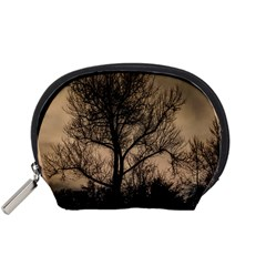 Tree Bushes Black Nature Landscape Accessory Pouches (small)  by BangZart