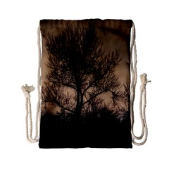 Tree Bushes Black Nature Landscape Drawstring Bag (small)