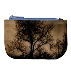 Tree Bushes Black Nature Landscape Large Coin Purse