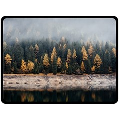 Trees Plants Nature Forests Lake Fleece Blanket (large)