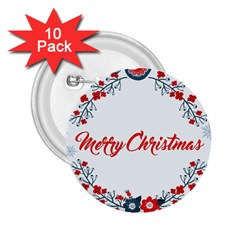 Merry Christmas Christmas Greeting 2 25  Buttons (10 Pack)