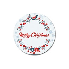 Merry Christmas Christmas Greeting Magnet 3  (round)