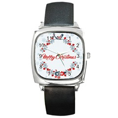 Merry Christmas Christmas Greeting Square Metal Watch