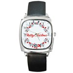 Merry Christmas Christmas Greeting Square Metal Watch Front