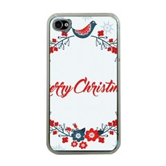 Merry Christmas Christmas Greeting Apple Iphone 4 Case (clear) by BangZart