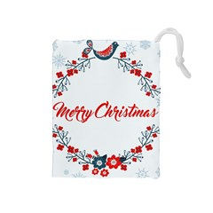 Merry Christmas Christmas Greeting Drawstring Pouches (medium)