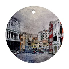 Venice Small Town Watercolor Ornament (round) by BangZart