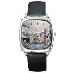 Venice Small Town Watercolor Square Metal Watch by BangZart