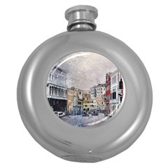 Venice Small Town Watercolor Round Hip Flask (5 Oz) by BangZart