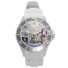 Venice Small Town Watercolor Round Plastic Sport Watch (l) by BangZart