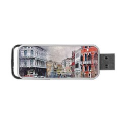 Venice Small Town Watercolor Portable Usb Flash (two Sides)