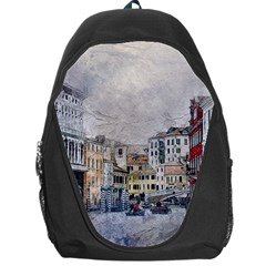 Venice Small Town Watercolor Backpack Bag