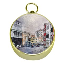 Venice Small Town Watercolor Gold Compasses by BangZart