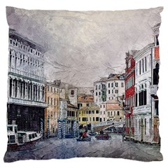 Venice Small Town Watercolor Large Flano Cushion Case (one Side)