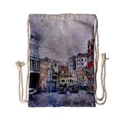 Venice Small Town Watercolor Drawstring Bag (small)