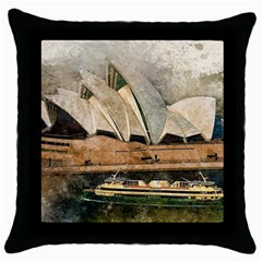 Sydney The Opera House Watercolor Throw Pillow Case (black) by BangZart
