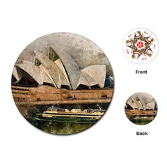 Sydney The Opera House Watercolor Playing Cards (round)