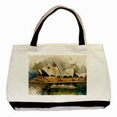 Sydney The Opera House Watercolor Basic Tote Bag (two Sides)