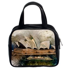 Sydney The Opera House Watercolor Classic Handbags (2 Sides) by BangZart