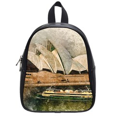Sydney The Opera House Watercolor School Bag (small) by BangZart
