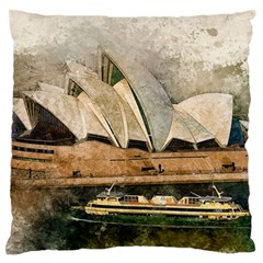 Sydney The Opera House Watercolor Large Flano Cushion Case (one Side)