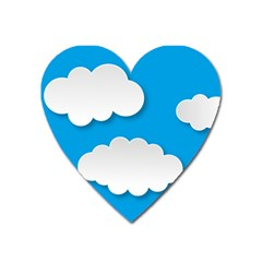 Clouds Sky Background Comic Heart Magnet by BangZart