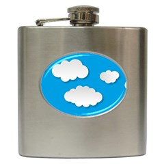 Clouds Sky Background Comic Hip Flask (6 Oz)
