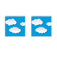 Clouds Sky Background Comic Cufflinks (square) by BangZart