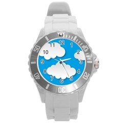 Clouds Sky Background Comic Round Plastic Sport Watch (l)
