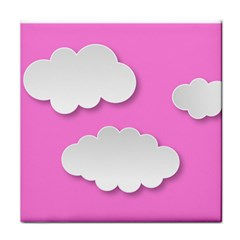 Clouds Sky Pink Comic Background Tile Coasters by BangZart