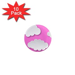 Clouds Sky Pink Comic Background 1  Mini Magnet (10 Pack)