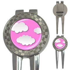 Clouds Sky Pink Comic Background 3 In 1 Golf Divots