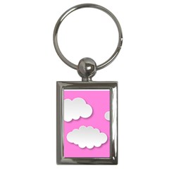 Clouds Sky Pink Comic Background Key Chains (rectangle)