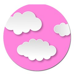 Clouds Sky Pink Comic Background Magnet 5  (round)